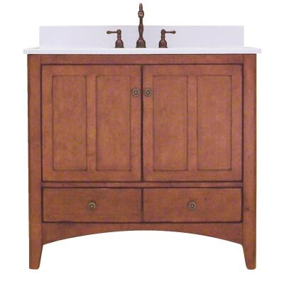 Sunny Wood Expressions Warm Cinnamon 36 In. W x 34 In. H x 21-1/4 In. D Vanity Base, 2 Door/2 Drawer