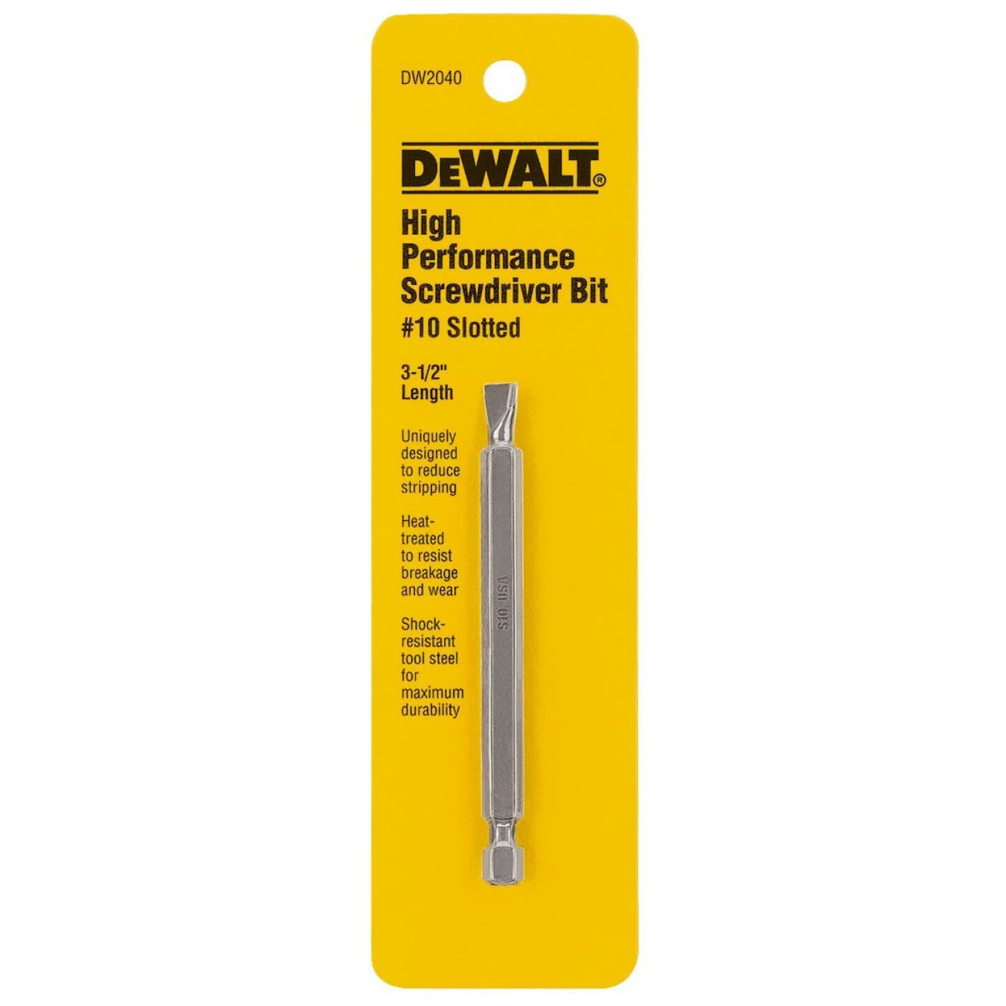 DeWalt Slotted #10 3-1/2 In. 1/4 In. Power Screwdriver Bit Image 1