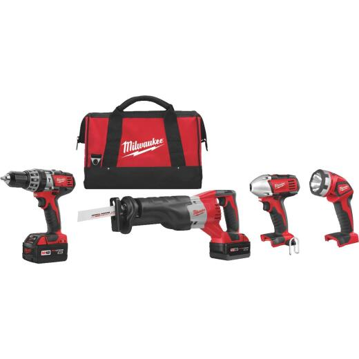 Milwaukee 4-Tool M18 Lithium-Ion Hammer Drill, Reciprocating Saw, Impact Driver & Work Light Cordless Tool Combo Kit
