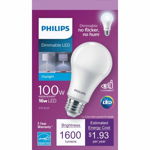 Philips 100W Equivalent Daylight A19 Medium Dimmable LED Light Bulb, Title 20 Compliant