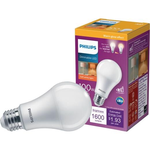 Philips Warm Glow 100W Equivalent Soft White A19 Medium Dimmable LED Light Bulb, Title 20 Compliant