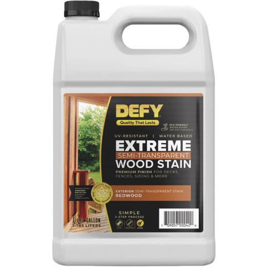 DEFY Extreme Semi-Transparent Exterior Wood Stain, Redwood, 1 Gal. Bottle