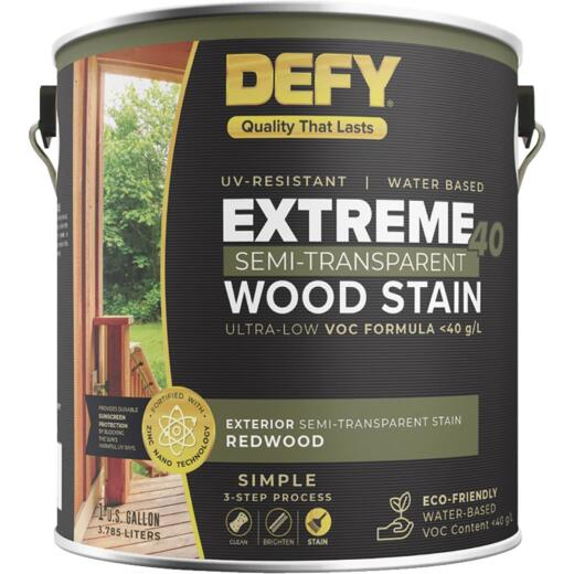 Defy Extreme 40 VOC-Compliant Semi-Transparent Exterior Wood Stain, Redwood, 1 Gal.